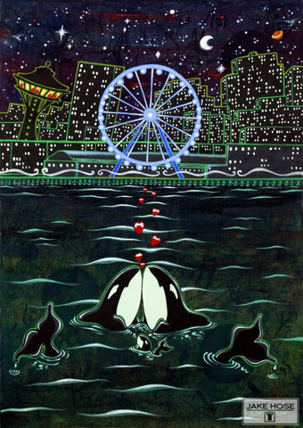 great wheel, space needle, seattle, washington, orca whales, art, whimsical, Jake Hose