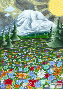 Mount Rainier, mountain, Mazama Ridge, flowers, washington, art, whimsical, Jake Hose