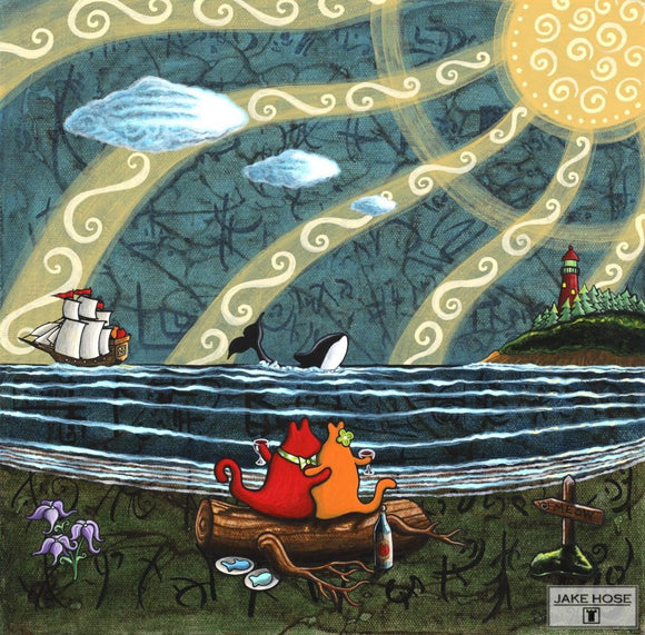 San Juan Islands, cats, washington, art, orca whales, whimsical, Jake Hose