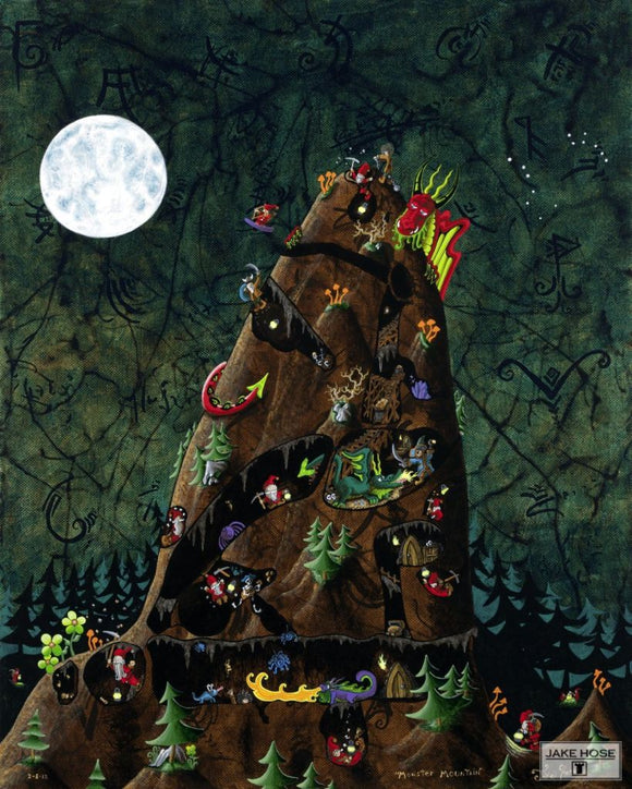 Monster Mountain Whimsical Art By Jake Hose - Fun Whimsical Art 11X14 Print, 14x18 canvas giclee, 18x24 canvas giclee