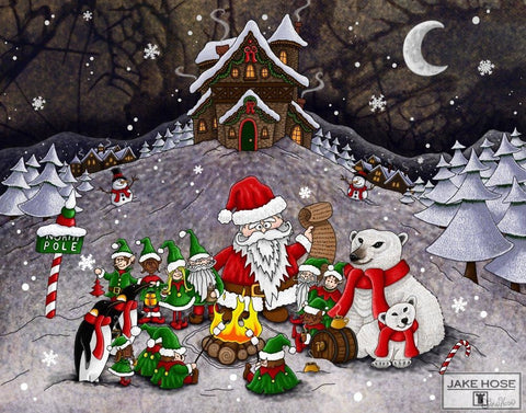 Naughty List Whimsical Art By Jake Hose - Fun Whimsical Art 11X14 Print, 14x18 canvas giclee, 18x24 canvas giclee