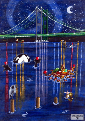 Tacoma, narrows brige, orca whales, octopus, art, whimsical, Jake Hose