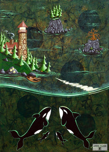 Orcas And Lighthouse Whimsical Art By Jake Hose - Fun Whimsical Art 11X14 Print Canvas Giclee Fun