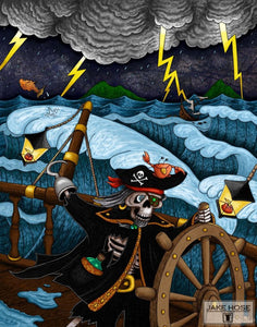 skeleton, pirate, storm, crab, art, whimsical, Jake Hose