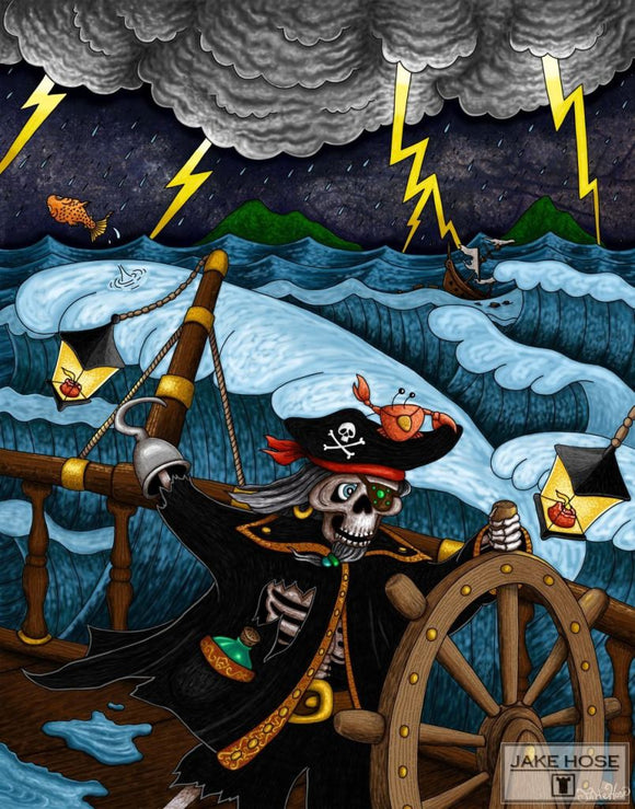Pirate Black Coats Revenge Whimsical Art By Jake Hose - Fun Whimsical Art 11X14 Print Canvas Giclee Fun