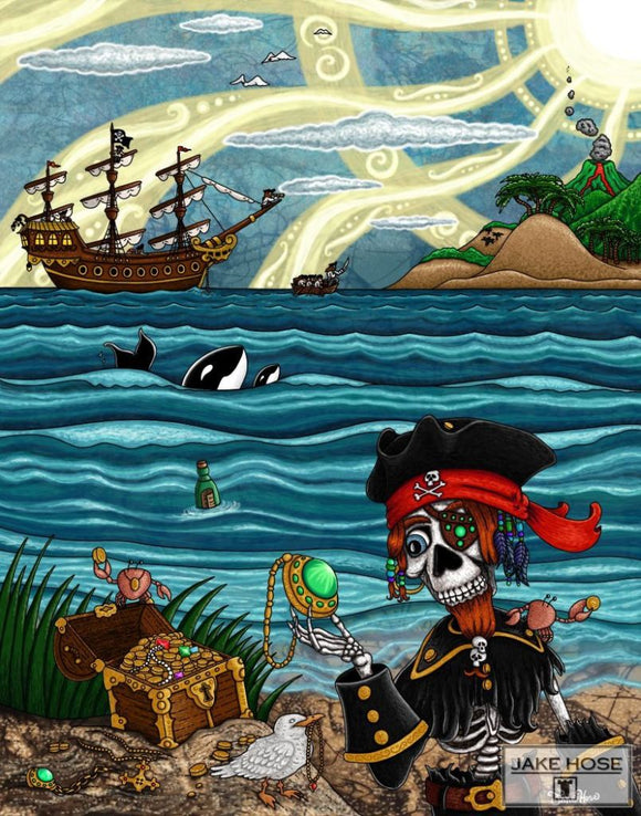 Pirate Chester And His Treasure Whimsical Art By Jake Hose - Fun Whimsical Art 11X14 Print, 14x18 canvas giclee, 18x24 canvas giclee