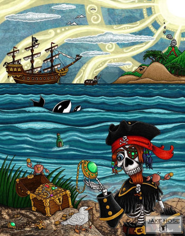 art, pirates, skeleton,treasure, ship, orca whales, whimsical, Jake Hose