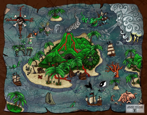Pirate Map Whimsical Art By Jake Hose - Fun Whimsical Art 11X14 Print Canvas Giclee Cave Fun