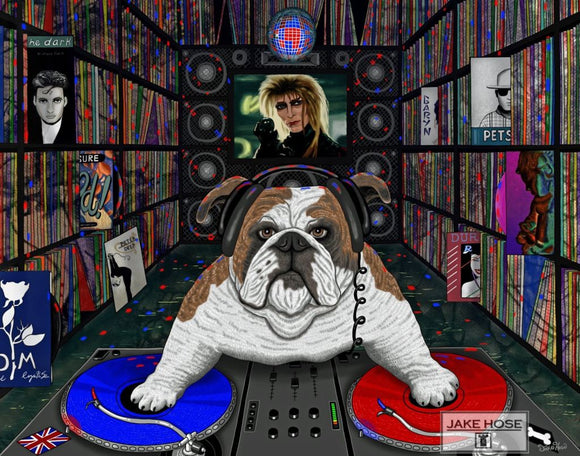 Play It Britain, british, bulldog, dj, music, 80's, pop culture, art, whimsical, Jake Hose