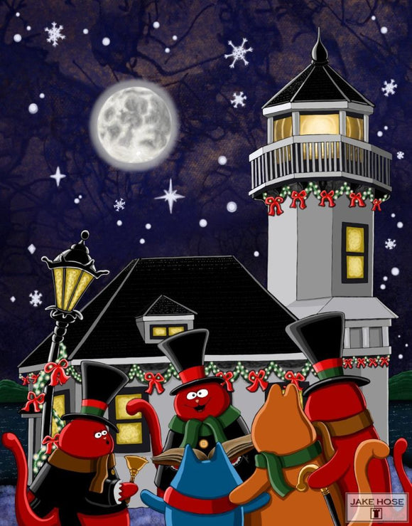 Port Townsend Cat Carolers Whimsical Art By Jake Hose - Fun Whimsical Art 11X14 Print Canvas Giclee Carolers Cat