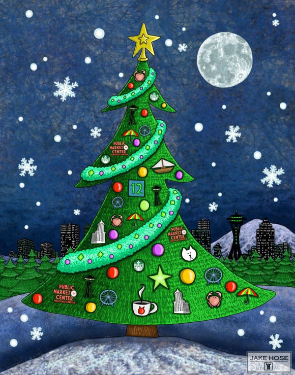 Seattle Christmas Tree Whimsical Art By Jake Hose - Fun Whimsical Art 11X14 Print, 16x20 canvas giclee, 18x24 canvas giclee
