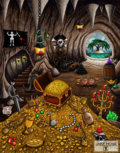 pirates, art, treasure, Shipwreck, Cove, cave, Whimsical, Jake Hose