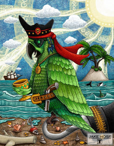 parrot, pirate, ship, crabs, art, whimsical, Jake Hose