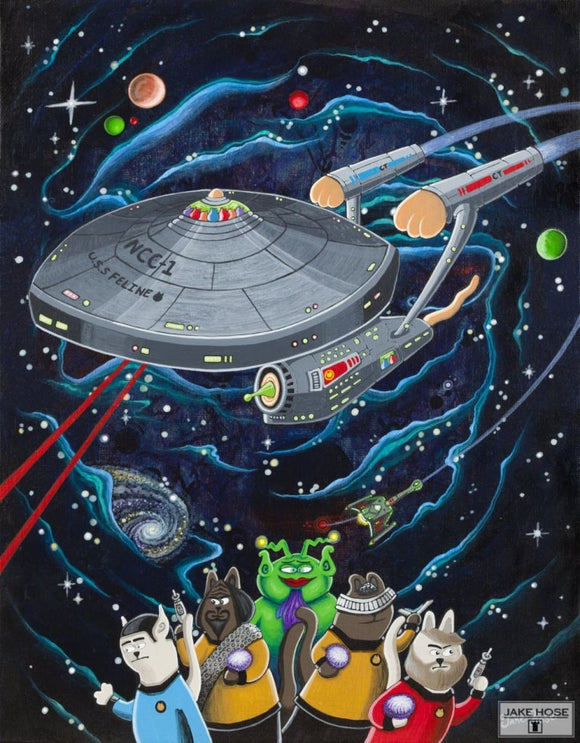 Star Cats Whimsical Art By Jake Hose - Fun Whimsical Art 11X14 Print, 14x18 canvas giclee, 18x24 canvas giclee