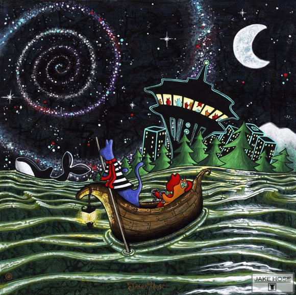 Starry Night Whimsical Art By Jake Hose - Fun Whimsical Art 11X14, 12x12 canvas giclee, 20x20 canvas giclee