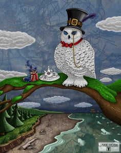 Steeping The Tea Whimsical Art By Jake Hose - Fun Whimsical Art 11X14 Print, 16x20 canvas giclee, 18x24 canvas giclee