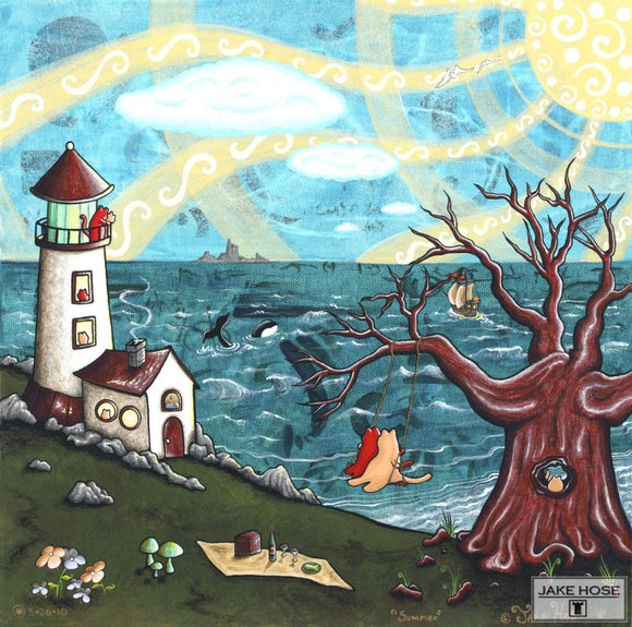 San Juan Islands, washington, cats, lighthouse, orca whales, art, whimsical, Jake Hose
