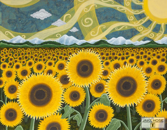 Sunflower Field By Whimsical Artist Jake Hose - Fun Whimsical Art 11X14 Print, 14x18 canvas giclee, 18x24 canvas giclee