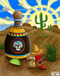 Tequila Sunrise Whimsical Art By Jake Hose - Fun Whimsical Art 11X14 Print Alcohol Cactus Canvas Giclee