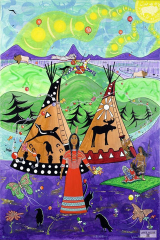 The Blackfoot Princess Whimsical Art By Jake Hose - Fun Whimsical Art 11X14 Print, 14x18 canvas giclee, 18x24 canvas giclee