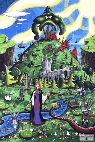 The Celtic Princess Whimsical Art By Jake Hose - Fun Whimsical Art 11X14, 16x20 canvas giclee, 18x24 canvas giclee