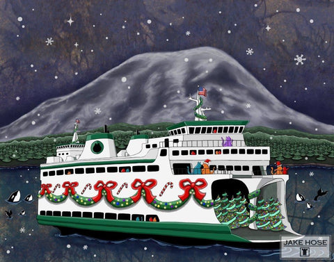 The Christmas Ferry Whimsical Art By Jake Hose - Fun Whimsical Art 11X14 Print, 16x20 canvas giclee, 18x24 canvas giclee