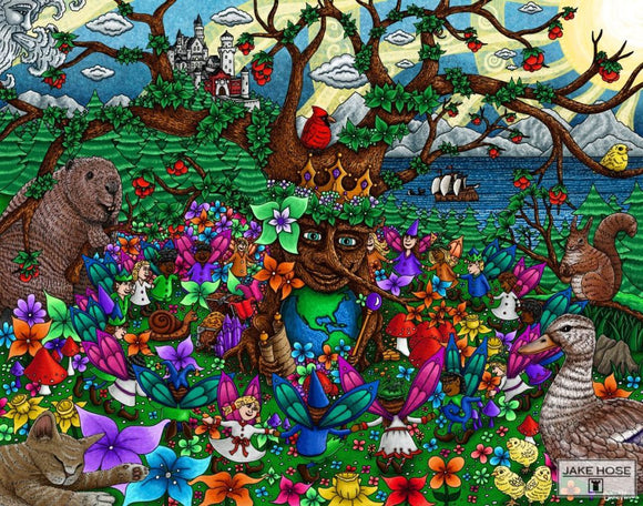 The Family Tree Whimsical Art By Jake Hose - Fun Whimsical Art 11X14 Print Beaver Bird Boat