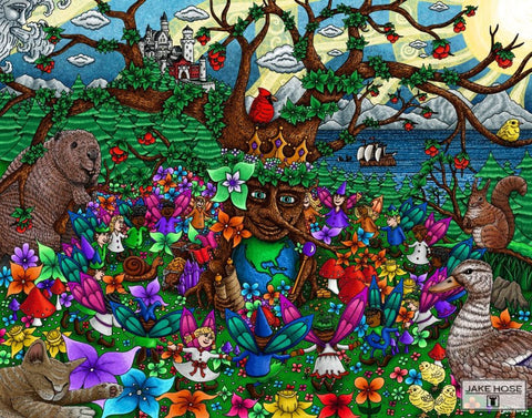 fairies, tree of life, castle, forest, flowers, art, whimsical, Jake Hose