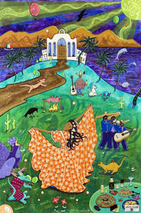 The Fiesta Princess Whimsical Art By Jake Hose - Fun Whimsical Art 11X14 Print Band Canvas Giclee Celebration