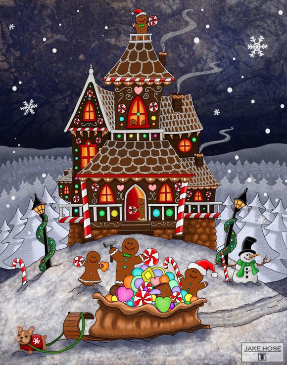 The Ginger Builders Whimsical Art By Jake Hose - Fun Whimsical Art 11X14 Print Canvas Giclee Christmas Fun