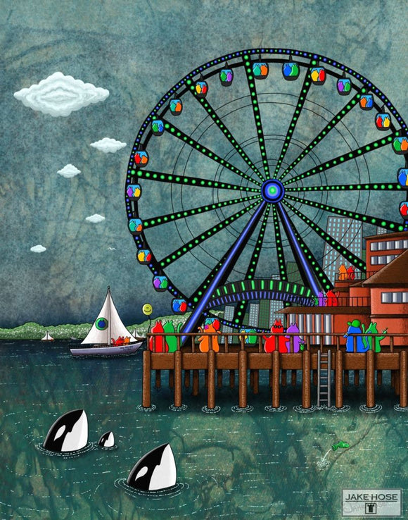 The Great Wheel Seattle Whimsical Art By Jake Hose - Fun Whimsical Art 11X14 Print, 16x20 canvas giclee, 18x24 canvas giclee