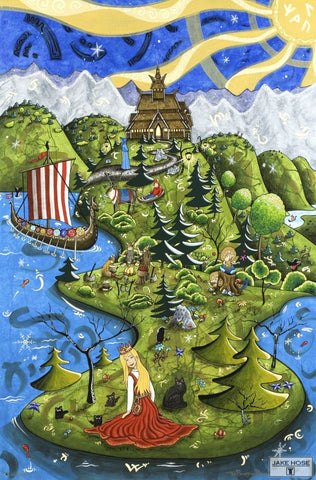 The Norwegian Princess Whimsical Art By Jake Hose - Fun Whimsical Art 11X14 Print, 16x20 canvas giclee, 18x24 canvas giclee