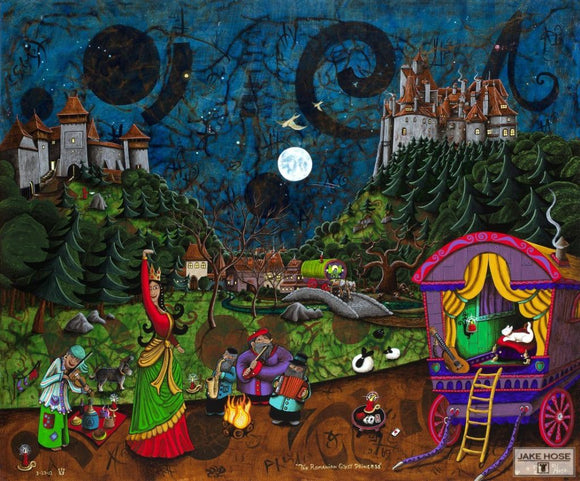 The Romanian Gypsy Princess Whimsical Art By Jake Hose - Fun Whimsical Art 11X14 Print, 14x18 canvas giclee, 18x24 canvas giclee