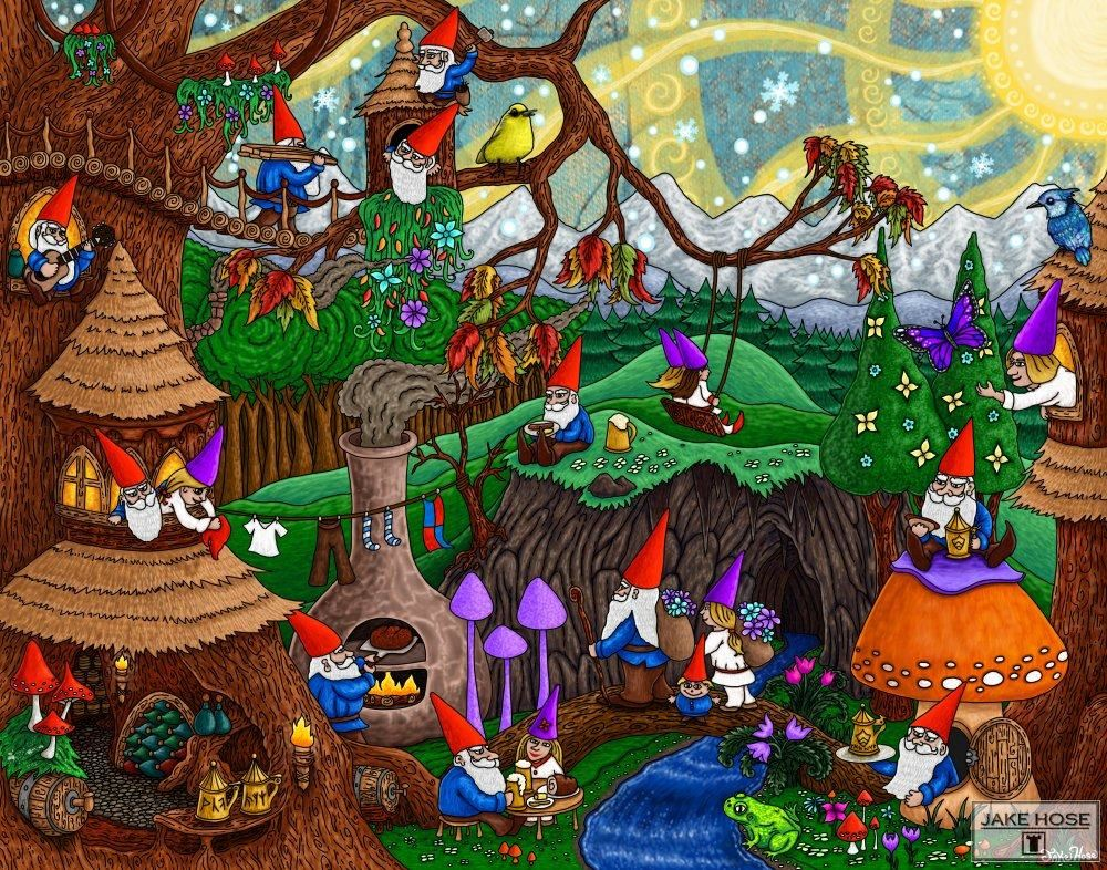 gnomes, village, forest, mushrooms, art, whimsical, Jake Hose