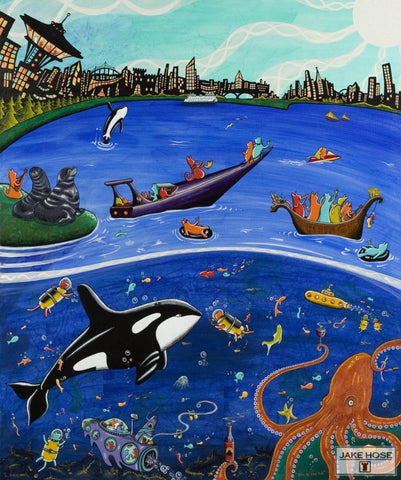 seattle, cats, space needle, orca whales, art, whimsical, Jake Hose