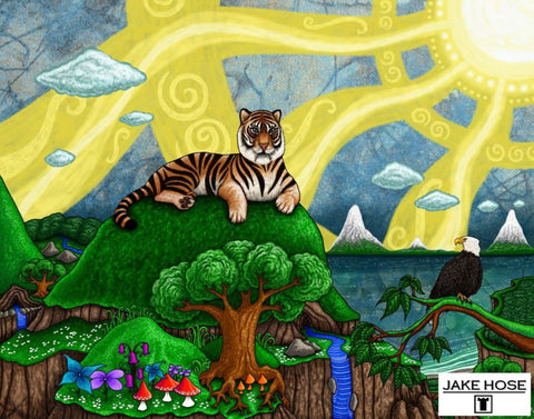 Top Of The World Whimsical Art By Jake Hose - Fun Whimsical Art 11X14 Print, 14x18 canvas giclee, 18x24 canvas giclee