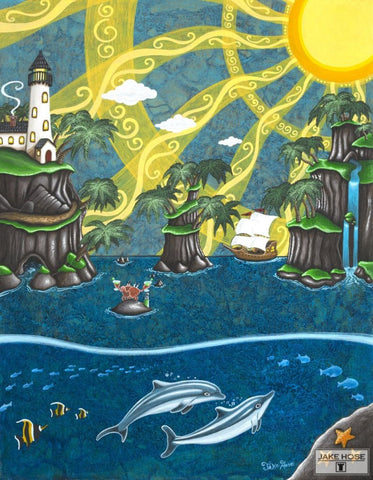 Tropical Escape Whimsical Art By Jake Hose - Fun Whimsical Art 11X14 Print, 14x18 canvas giclee, 18x24 canvas giclee