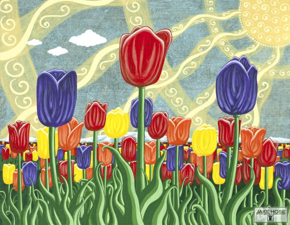 Tulip Fields Whimsical Art By Jake Hose - Fun Whimsical Art 11X14 Print Canvas Giclee Fun
