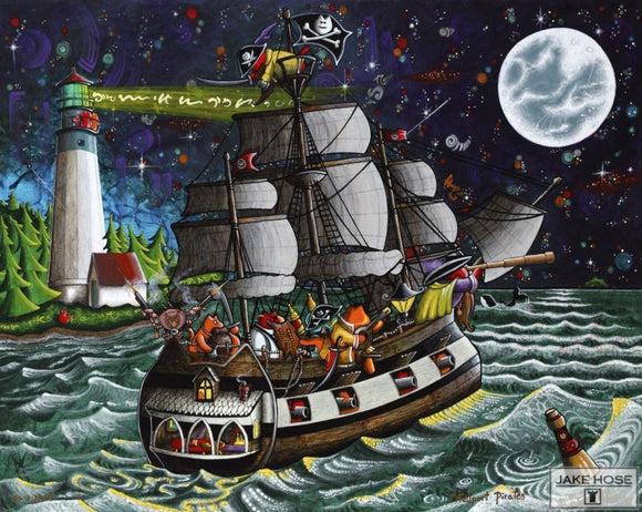 Westport Pirates Whimsical Art By Jake Hose - Fun Whimsical Art 11X14 Print Canvas Giclee Cats Fun