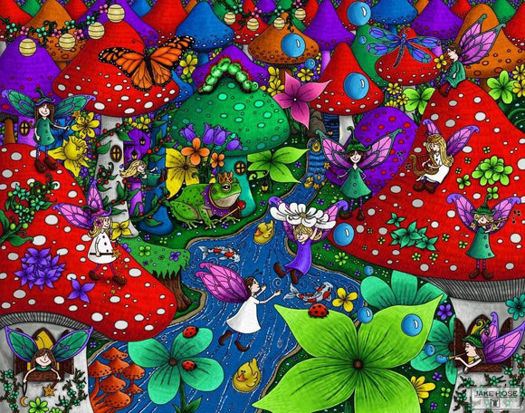 fairies, rubber duckies, mushrooms, flowers, monarch butterfly, art, whimsical, Jake Hose