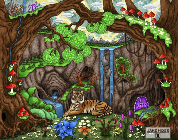 While The Forest Sleeps Whimsical Art By Jake Hose - Fun Whimsical Art 11X14 Print Bengal Tiger Canvas Giclee Canyon