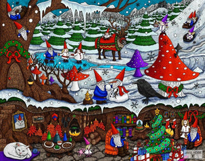 gnomes, Christmas, ice skating, sledding, reindeer, art, whimsical, Jake Hose