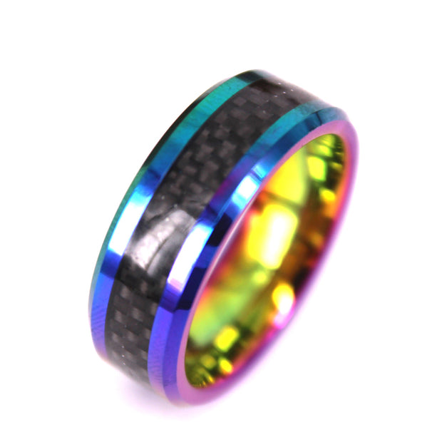 Black Carbon Fiber Ring in Tie Die In Tungsten Carbide (6.0 Grams) - P/N: 708744109439 - Overnight Composites