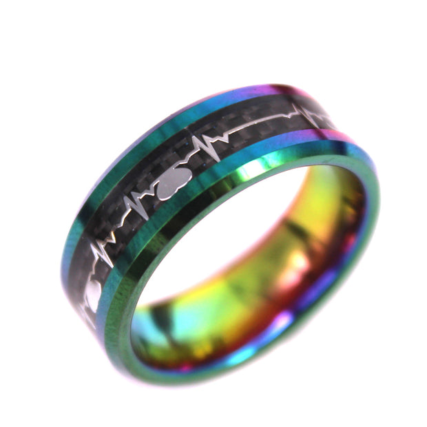 NEW! - Black Carbon Fiber Ring with Heart Beat Cast Tie Dye In Tungsten Carbide (6.0 Grams) - P/N: 708744109446 - Overnight Composites