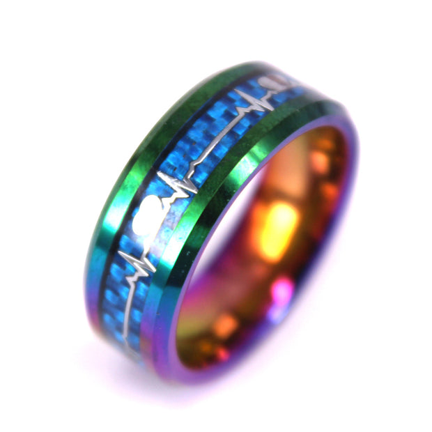 Tie Die HeartBeat Carbon Fiber Ring - In  Tungsten Carbide (6.0 Grams) - P/N: 708744109415 - Overnight Composites
