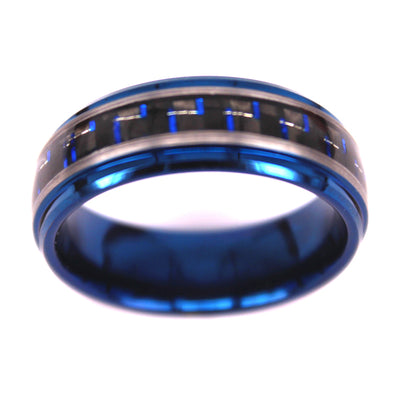 Black & Blue Carbon Fiber Ring in Blue Tungsten Carbide (6.0 Grams) - P/N: 708744109422 - Overnight Composites