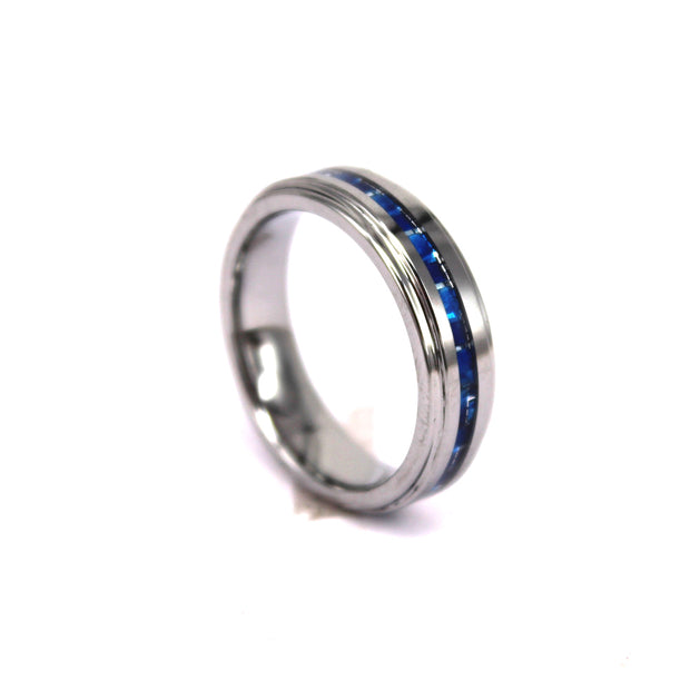 Thin Blue Carbon Fiber Ring In Stainless Steel (6.0 Grams) - P/N: 708744109095 - Overnight Composites