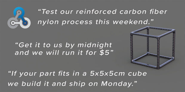 "Sale $5 Friday's ""High Strength Composite 3D Printing Special."" - Overnight Composites"