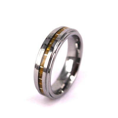 Thin Gold Carbon Fiber Ring In Stainless Steel (6.0 Grams) - P/N: 708744109101 - Overnight Composites