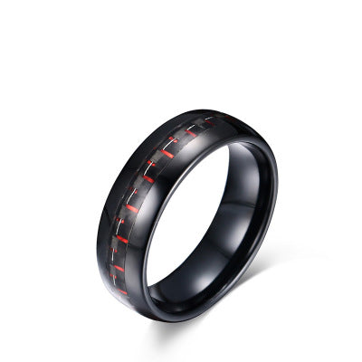 Black/Red Carbon Fiber Ring In Tungsten Carbide (6.0 Grams) - P/N: 708744109118 - Overnight Composites
